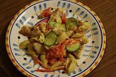 Honey Mustard Chicken Salad....(dinner) (Michelle ~ Blacky ~ Champaz's Captures....) Tags: chicken tomato cucumber macaroni capsicum saladonion honeymustardsaladdressing