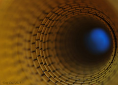 Light at the end of the tunnel (Tony Dias 7) Tags: blue macro up yellow focus dof close hole small tunnel explore tape round cloth measure explored