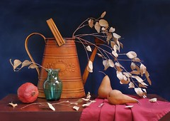 Garden's Pleasures. (Esther Spektor - Thanks for three millions views..) Tags: blue autumn light red stilllife food brown plant color colour reflection green art texture glass leaves metal fruit composition garden table stem beige rust branch pattern linen availablelight burgundy napkin navy pomegranate stilleben fabric fantasy pear vase imagination esther tableau arrangement wateringcan pleasure russet bodegon cobalt naturemorte artisticphotography wateringpot naturamorta spektor naturezamorta coth creativephotography bej artofimages exoticimage esth