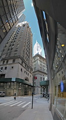 vertical panorama standing on Hanover Street (@harryshuldman) Tags: street new york city nyc urban panorama building vertical wall skyline architecture canon landscape photography rebel stitch manhattan district pano harry bank company trust 40 lower dslr hanover trump financial forty photostitch t3i shuldman hshuldman harryshuldman