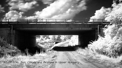 Sun, Clouds and Bridges (ntemptm) Tags: architecture beauty blackandwhite bw bridge clouds sky day infrared infraredphoto nopeople nonurban scenic sunny summer tranquility cloudporn nd longexposition wonderfull nature ir