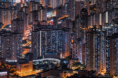 Kowloon Peak  (mikemikecat) Tags: kowloonpeak  kowloon hongkong sonya7r a7r mikemikecat sony stacked building colorful blue       nightscape urban  h      sel70200g   golden cityscape  architecture apartment housing