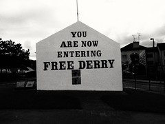 You are now entering free Derry (lgebelin) Tags: free independence ira derry bogside londonderry northernireland britain blackandwhite bw mono monochrome grafitti