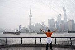 Welcome to Shanghai (Qiche) Tags: asia china shanghai pudong street people person buildings river pearl orient tower cityscape skyscraper mist morning excercise architecture modern