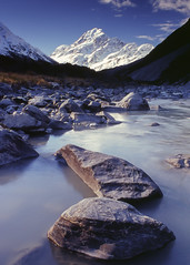 Hooker rocks (zebedee1971) Tags: cook river ice snow rock rocks cold glacier hills mountain mountains highest high elevation silt stream flow water wet grass grasses landscape land dirt sky cloud clouds white alpine alps serene
