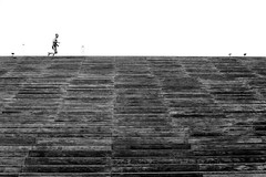 By running along the stairs (pascalcolin1) Tags: paris13 runner coureur stairs marches escalier bnf photoderue streetview urbanarte noiretblanc blackandwhite photopascalcolin