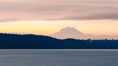 Earthrise (John Westrock) Tags: sunrise mtrainier mountain landscape longexposure gigharbor water smooth pacificnorthwest washington canoneos5dmarkiii canon135mmf2lusm bwnd1000x johnwestrock