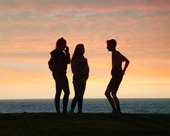 Three's a crowd (Borderline UK) Tags: elements silhouette dmctz20 wales aberystwyth sunset