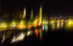 Paris Waterfront by Night (cotswoldman) Tags: paris bercy quai reflection abstract artistic art blur impression intentionalcameramovement icm impressionism impressionist colour seascape river seine riverseine gloucestercameraclub