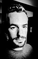 Self-portrait. (anthonyharrisjeweller) Tags: selfie face male beard man jeweller crete georgioupolis greece noir blackandwhite selfportrait