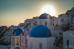 The Blue domes (Jordi Corbilla Photography) Tags: oia domes blue nikon d750 50mm sunset sunflare flare white jordicorbilla jordicorbillaphotography greece santorini