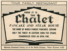 Chalet Pancake and Steak House, 1960 ad (Tom Simpson) Tags: vacationland vintage 1960 1960s ad ads advertising vintagead vintageads chalet pancake steakhouse restaurant