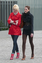Blonde and Brunette - Both 1 (booster_again) Tags: jeans boots miniskirt tights pantyhose leggings pumps
