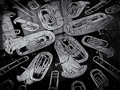 BREATHLESS 1 (Nigel Bewley) Tags: breathless corneliaparker art artwork suspension brass musicalinstruments tuba trombone trumpet cornet horn va victoriaalbertmuseum cromwellroad london england uk blackandwhite blackwhite creativephotography indoor unlimitedphotos september september2016 nigelbewley