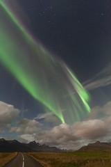 Northern lights in Faskrudsfjordur (*Jonina*) Tags: iceland ísland faskrudsfjordur fáskrúðsfjörður auroraborealis northernlights norðurljós night nótt road vegur sky himinn longexposure jónínaguðrúnóskarsdóttir september20th2016 500views 25faves