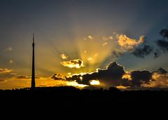 Autumn sunset (littlestschnauzer) Tags: emley moor mast sunset sunlight setting sun evening autumn september 2016 uk landmark nikon west yorkshire light rays beams transmitting station transmitter tv