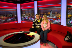Richard and Lauren on the BBC Breakfast set (Richard Amor Allan) Tags: set radio studio manchester salfordquays sofa bbc dockhouse bbcbreakfast redsofa mediacity richardallan bbcradiomanchester laurenfreeman breakfastsofa