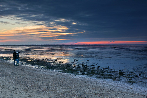 Watching the sunset at Heacham beach, Norfolk