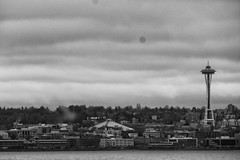 Seattle from the ferry (QsySue) Tags: seattle blackandwhite postprocessed water ferry digital lumix boat waterfront panasonic spaceneedle pointandshoot pugetsound digitalcamera washingtonstate digitalpointandshoot silverefexpro panasoniclumixdmczs8