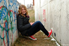 Kaitlyn (girlwithacameraa) Tags: blue winter red portrait snow cold grass wall hair photography graffiti waves jeans converse taylor blonde chuck