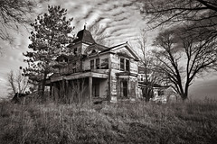 Fall of Rome (Rodney Harvey) Tags: blackandwhite architecture farmhouse rural illinois decay farm forgotten abandonedhouse infrared lonely