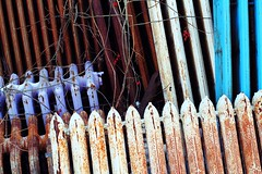 (rafalweb (moved)) Tags: blue red orange color lines composition canon eos 50mm junk purple angle plumbing rusty rusted 7d rusting salvage ef heaters photoscape