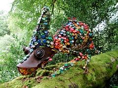 Chameleon (Fiona Campbell Art) Tags: sculpture art animal garden fun 3d outdoor buttons steel stourhead workshop colourful creature scrap chameleon recycledmaterials bottletops larmertreefestival