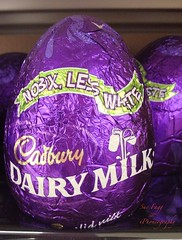 it finally had to be... Chocolate!! (green-dinosaur) Tags: light closeup easter colours purple chocolate sixwordstory theme 365 iphone easteregg iphone4 iphoneography suefagg