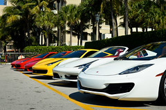 Lineup (Matthew C. Photography) Tags: red white classic beach yellow spider interior convertible ferrari palm mclaren breakers lamborghini scuderia 430 458 cavallino 2013 aventador mp412c
