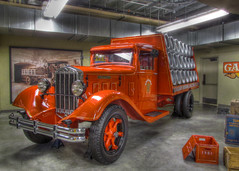 1933 Diamond T Brewery Truck (njchow82) Tags: red calgary historic vehicle hdr 1933 heritagepark lumen inspiredbylove tonemapping gasolinealley photomatrix thisisexcellent nancychow canonpowershotsx30is diamondtbrewerytruck