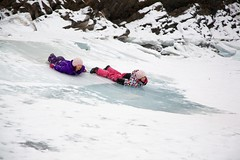 Penguin slide the twins (John Andersen (JPAndersen images)) Tags: winter wild white canada mountains ice nature canon river alberta banff geology luge bowriver sliders jpandersenimages