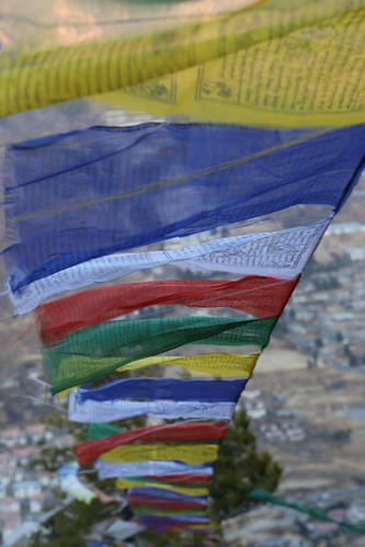 Wind Horse (Lung Ta) prayer flags swing in the breeze (Bhutan)