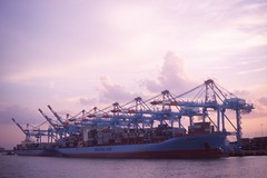 Container Port (Alexander Rabb) Tags: film newjersey nikon kodak crane nj newark nikkor nikonf e6 shippingcontainer containerport newyorkharbor kodakelitechrome200 newarkbay workingharbor hiddenharbortour workingharborcommittee maritimecommerce zoomnikkor4386mmf35 zoomnikkor43~86mmf35