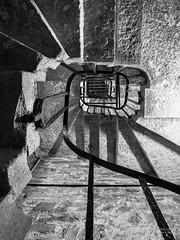 Staircase, Bodmin Gaol (cybertect) Tags: blackandwhite monochrome stairs cornwall explore staircase handrail bodmin bodminjail panasonicg2 panasoniclumixgvario1442mmf3556megaois