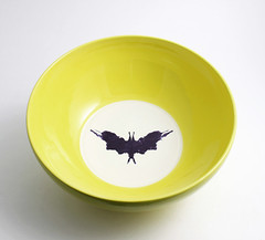 Yellow, White and Black Rorschach Bowl (lltownley) Tags: blackandwhite art yellow psychiatry ceramics geek bat rorschach bowl science doctor pottery etsy inkblot freud psychology psychiatrist lemonyellow lisatownley