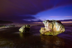 Two to See in the Day (Rodney Campbell) Tags: longexposure sky seascape lightpainting water night clouds twilight australia newsouthwales warriewood turimetta