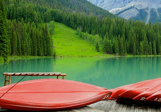 Emerald Lake and Red Canoes