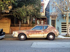 Rust Never Sleeps (misterbigidea) Tags: sf sanfrancisco street city urban brown classic stain beauty car vintage landscape rust earth decay parking rusty neighborhood explore american camouflage hotwheels ugly gremlin parked 1970 amc tone crusty corrosion patina reddish subcompact