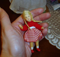 Little Erna Meyer Girl (Ayla160 >^..^<) Tags: girl vintage germany miniature wire doll blond german tiny braids cloth meyer erna dollhouse flexible bendable poseable stockinette