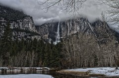 Valley View of Merced River and Yosemite Falls_HDR2 (rschnaible) Tags: california park ca trees winter usa snow storm clouds forest river us floor cloudy nevada january merced stormy falls sierra national valley yosemite geology hdr geologic nrpad