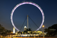 Spin the Wheel (bing dun (nitewalk)) Tags: nightphotography tourism wheel night canon singapore bluehour tbd marinabay tiltshift singaporeflyer tbdphotography tanbingdun