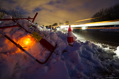 Lumires chaotiques (Igor HOLLMAN) Tags: road longexposure mars snow france night canon lights twilight chaos routes neige paysage crpuscule nuit 1022mm calvados lanscape lumires snowdrifts reportage d7 2013 550d congres ctedenacre poselente bassenomandie igorhollman pisodeneigeuxdemars2013 dpartementale7 routecaenlamer