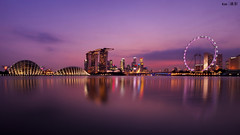 (Explored) Skyline @Night 16:9 cropped (kengoh8888) Tags: lighting longexposure sky reflection water colors gardens by marina wonderful landscape bay flyer sand singapore pentax smooth wideangle 1020 k5 mbs the simga supertree