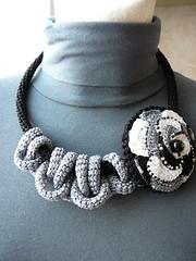Crochet necklace with a brooch (natalie_kova) Tags: black grey necklace brooch crochet crochetnecklace crochetaccessories blacknecklace crochetbrooch