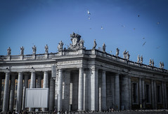 Basilica de San Pedro (Vaticano) (tincho.uy) Tags: plaza roma church birds arquitectura san basilica catedral vaticano pájaros pedro igreja papa palomas estatua santuario barroco piaza flickrtravelaward