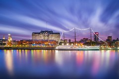 Sunset exposed (karinavera) Tags: travel nikond5300 day urban sunset colors port argentina buenosaires puertomadero fragata marina cityscape ship longexposure ndfilter fragate city