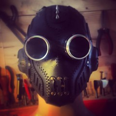 - [x] #postapocalyptic #postapocalypse #steampunk #steampunkmask #LARP #dieselpunk #dark #Leather #costume #cosplay (tovlade) Tags: face mask cyberpunk cyber goth make up goggles girl punk postapocalyptic postapocalypse black steampunk leather hand made larp cybergoth dieselpunk plague doctor