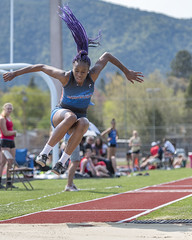 """I don't always shoot opposing athletes. But when I do, I prefer fun hair."" (acase1968) Tags: latifah creer long jump triple college siskiyous raider open 2015 track field hair braids blue purple ashland oregon southern university stadium sports photography nikon d750 70200mm f28g"