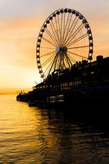 Seattle - Ferris Wheel at Sunset (NikonD3xuser1(Thanks for 1.5 million visits)) Tags: usa washington seattle docks water sunset ferriswheel reflections sky colors