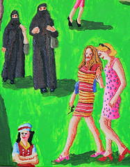 La peinture naïve de la ville de Nice France après l'attentat terroriste promenade pittoresque mortelle a été assassiné et massacré les chiffres événements terroristes meurtriers en Syrie en Irak en Israël et en France Europe usa